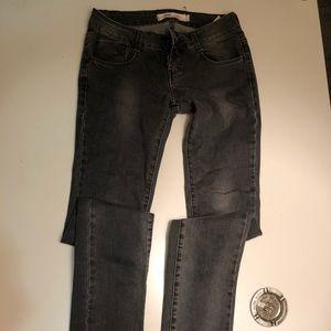 Grey denim street-style tight jeans
